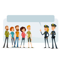 Cartoon flat police officers and teens characters vector