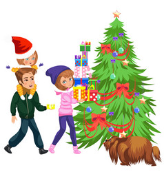 cartoon mother putting presents under christmas vector image