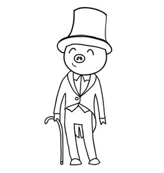 Cartoon pig gentleman coloring vector