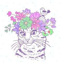 cat with wreath vector image
