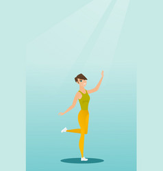 Cheerful caucasian woman dancer dancing vector