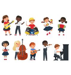 children play music cartoon kid musician vector image