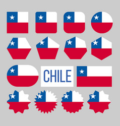 chile flag collection figure icons set vector image