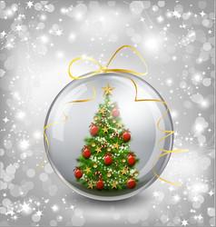 Christmas card with snow snowflakes globe vector