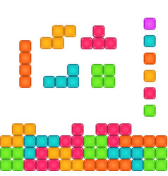 colorful brick pieces for game design vector image