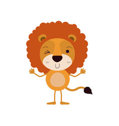 Colorful caricature of cute lion wink eye vector