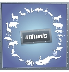 Concept blue poster for boys with animals vector image