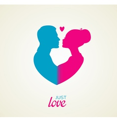 Couples silhouette kissing image vector image vector image