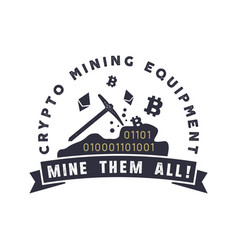 crypto mining equipment emblem crypto currency vector image
