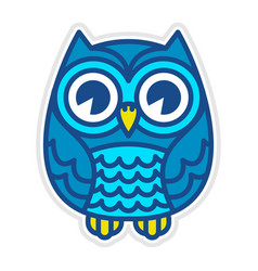 Cute cartoon owl bird with big eyes in sitting vector