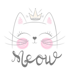 Cute cat meow funny princess vector