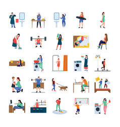 daily life flat icons pack vector image