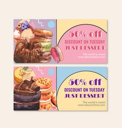 Dessert voucher design with macarons cookie vector