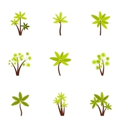 Different palm icons set flat style vector image