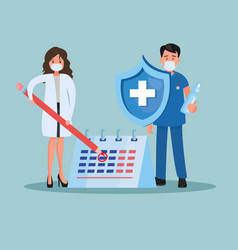doctors couple lifting pencil and shield vector image