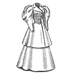 double breasted coat and skirt vintage engraving vector image