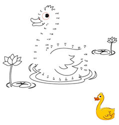 Duck Connect the dots and color vector