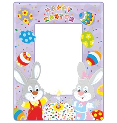 Easter border with bunnies vector