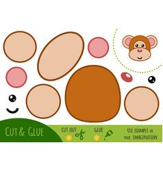 education paper game for children monkey vector image