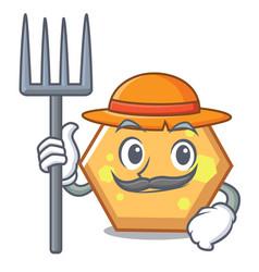 Farmer hexagon character cartoon style vector