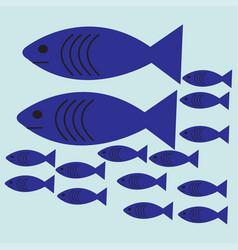 Flat shoal blue fish vector