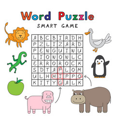 Funny animals word puzzle smart game vector