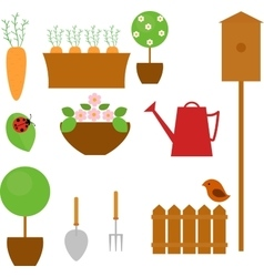 Gardening icon set with carrot tree flower and vector