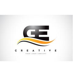 Ge g e swoosh letter logo design with modern vector