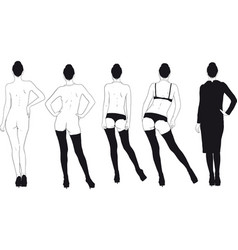 girl gradually dresses vector image