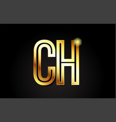Gold alphabet letter ch c h logo combination icon vector