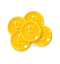 Gold pounds coins cartoon style isolated vector