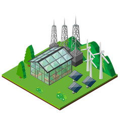 Green house and wind turbines in the field vector