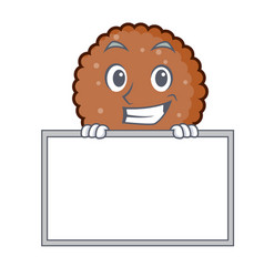 Grinning with board chocolate biscuit character vector