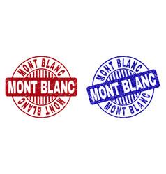 Grunge mont blanc textured round stamps vector