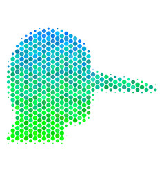 Halftone blue-green lier icon vector