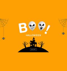 Halloween banner ghost boo scary spooky air vector