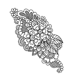 Hand-Drawn Abstract Henna Mehndi Flower Ornament vector