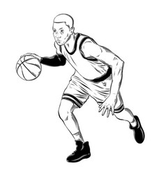 Hand drawn sketch of basketball player in black vector
