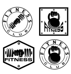 hand holding barbell and kettlebell in emblems vector image