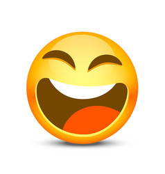 happy emoji face object on white background vector image vector image