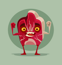 happy smiling piece meat mascot character vector image