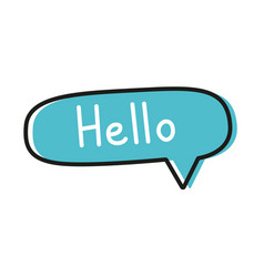 Hello handwritten text in speech bubble vector