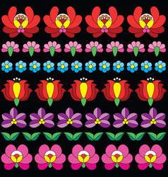 Hungarian folk art seamless floral pattern vector