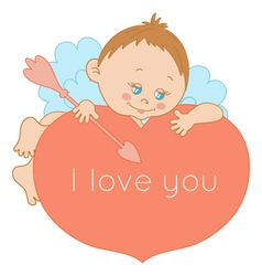 I love you card Valentines Day with a cute cupid vector image