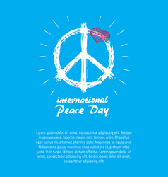 International peace day poster hippie sign icon vector