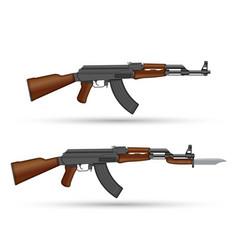 Kalashnikov ak-47 assault rifle with bayonet vector