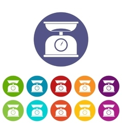 Kitchen scales set icons vector image