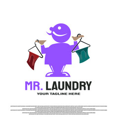 Laundry logo design with master concept element vector