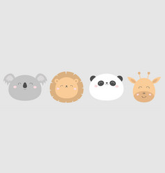 lion giraffe koala panda bearround face head line vector image