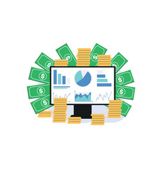 Monitor screen with charts money gold coins vector